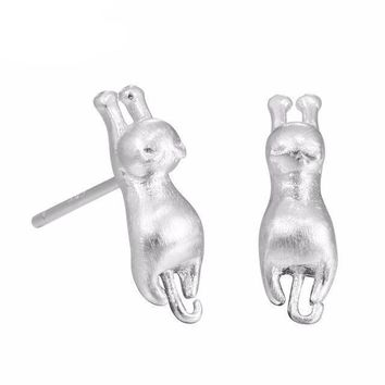 Delicate Tiny Cute Cats Earrings Chic Silver Plated Kitty Stud Earrings