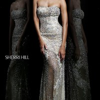 Strapless Floor Length Beaded Dress