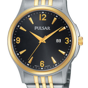Pulsar Men's Basic Dress Watch - Two-Tone Case and Bracelet - Black Dial