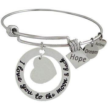 Expandable Bangle I Love You to the Moon and Back Blank for Engraving