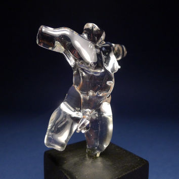 Dynamic Male Nude Torso Glass Sculpture by HotBlueFire on Etsy