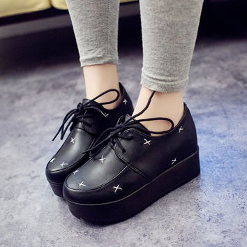 Autumn Patchwork Shoes England Style Vintage Thick Crust Height Increase Platform Shoes [9432938250]