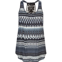 FULL TILT Crochet Back Ethnic Print Womens Tank