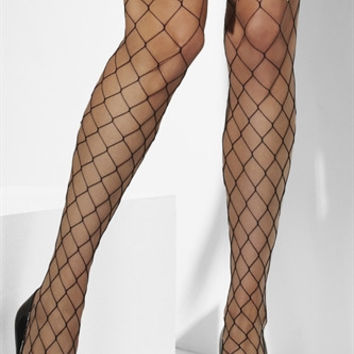 Fever Lingerie Diamond Net Stocking with Camo Bow  - Black