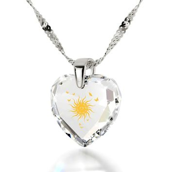 """I Love You to the Sun and Back"", 14k White Gold Necklace, Cubic Zirconia"