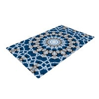"Iris Lehnhardt ""Mandala II"" Blue Abstract Woven Area Rug"