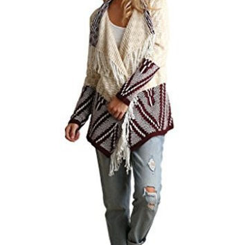 Umgee Women's Chunky Knit Multi-Colored Double Breasted Cardigan with Fringe Details