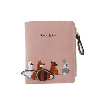 2018 New Fashion Women Wallet Card Holder Lovely Cartoon Fox Animals Small Coin Bag High Quality Zipper Purse Card Package