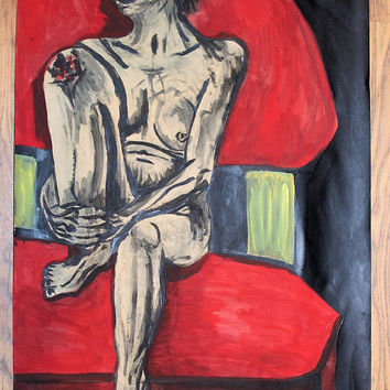 Found on a Red Chair- Original Figurative Painting Nude Life drawing by Eilidh Morris Art - Naked Figure Impressionist portrait