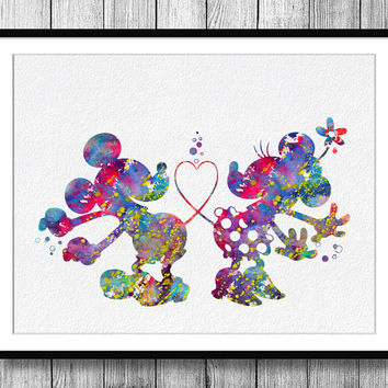 Instant Download Mickey and Minnie Love Dance Watercolor Art Digital Printable PNG JPEG Wall Art For Kids Art Clip Art Wall Decor