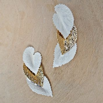 Vintage 1980s Layered Leaves + Gilded Earrings