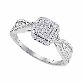10kt White Gold Womens Diamond Square Cluster Tapered Bridal Wedding Engagement Ring 1/6 Cttw