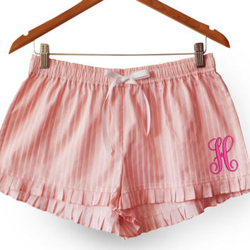 Monogram Pink Cotton Cute Shorts -Custom Ruffle Lounge Shorts -Personalized Bridesmaid Gift -Pajama Shorts -Ladies Sleep Wear -Gift For Her