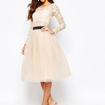 Rare London Sheer Lace Tutu Dress With Contrast Waistband And Tulle Skirt at asos.com