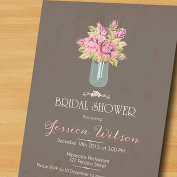 Bridal Shower invitation  Wedding Shower invitation rose Shabby Chic party Invitation Card Design elegant with Chandelier - card 151