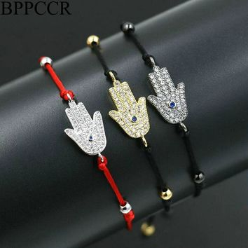BPPCCR Brand Crystal Zircon Men Women Bracelets Gold Color Hamsa Hand Lucky Red Rope String Thread Pulseira Masculina Lovers