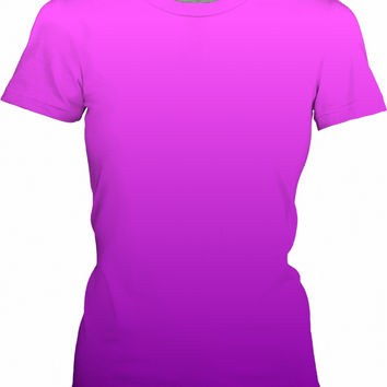 Two tones gradient, pink and violet, purple colors, all-over-print girls fit t-shirt design