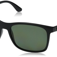 Ray-Ban INJECTED MAN SUNGLASS - BLACK Frame POLAR GREEN Lenses 57mm Polarized