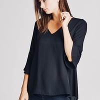 Emmett Black Mini Flare Blouse