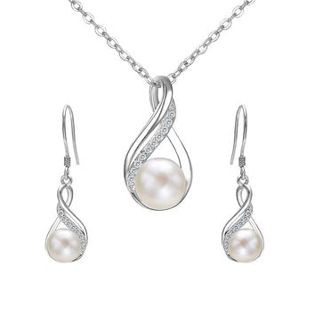 925 Sterling Silver CZ Cream Freshwater Cultured Pearl Infinity Bridal Necklace Hook Earrings Set Clear