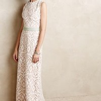 Baroque Lace Column Gown by Korovilas White