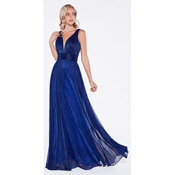 Royal Blue Ruched V-Neck and Back Pleated Long Formal Dress