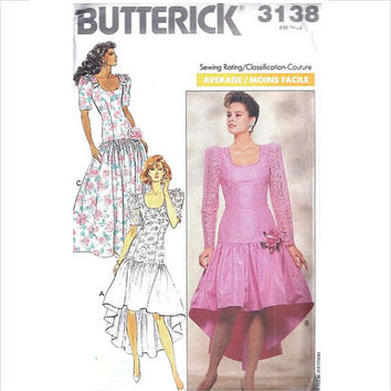 Butterick 3138 Sewing Pattern 80s Retro New Wave Style Party Prom Bridesmaid Dress Drop Waist Fishtail Hem Full Skirt Plus Size Bust 40