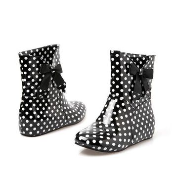 New Women Black Round Toe Flat Bow Within The Higher Ankle Rain Boots