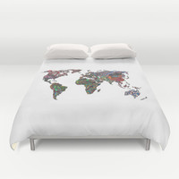 Flags - World Map Duvet Cover by Turn North Press