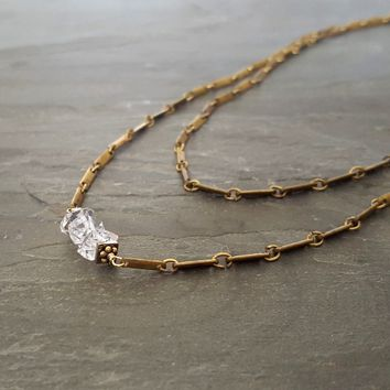 Raw Crystal Necklace, Herkimer Diamond Necklace, Long Wrap Around Chain Necklace, Double Layer Necklace, Raw Brass Chain, Raw Stone Necklace
