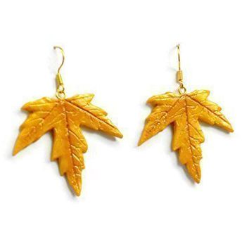 Handcrafted Polymer Clay Maple Leaf Dangle Earrings in Yellow, Gold, and Bronze