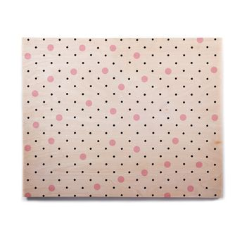"Project M ""Pin Points Polka Dot Pink"" Pink Black Birchwood Wall Art"