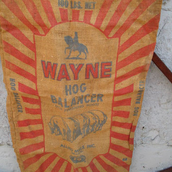 burlap feed sack Wayne Hog Vintage Rustic Wedding  farm house decor Upholstery material pillow fabric craft upcycling project Animal Feed