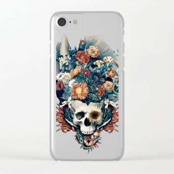 Skull and Flowers Clear iPhone Case by RIZA PEKER