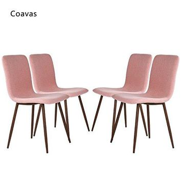 Set of 4 Eames Dining Chairs Coavas Fabric Cushion Kitchen Chairs with Sturdy Metal Legs for Dining Room, Pink