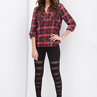 FOREVER 21 Mesh Panel Leggings Black