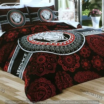 Versace Bedding Set Bedroom Duvet Cover Sheet Pillowcases Satin Red Black Unique