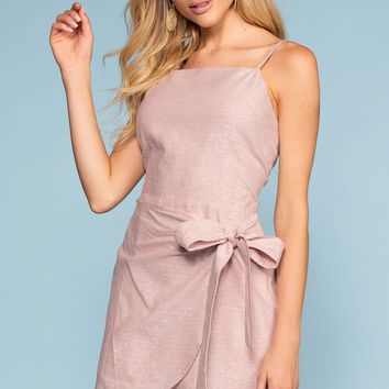 Cassi Wrap Front Dress - Mauve