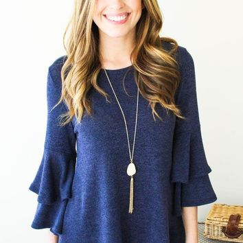 End Game Navy Ruffle Sleeve Top