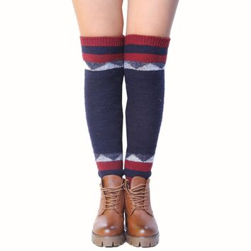 Women Warm Leg Warmer Knit Thigh high socks Over knee socks Winter accessories Colorful long leg warmer 1pair#LREW