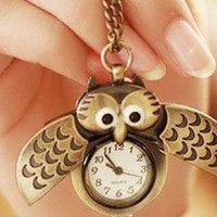 Vintage Bronze Owl Pocket Necklace Watch