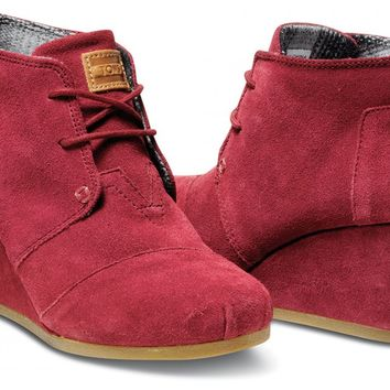 Burgundy Suede Women's Desert Wedges