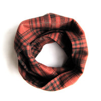 Child Plaid Scarf Toddler Scarf Girl Scarf Boy Scarf Rusty Red Black Childs Winter Scarf Holiday Kid Scarf Holiday Gift Ready To Ship