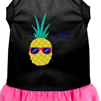 Pineapple Chillin Embroidered Dog Dress Black With Bright Pink Xxl (18)