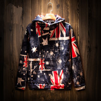 Vintage Men's UK Flag Hip Hop Jackets with Hood
