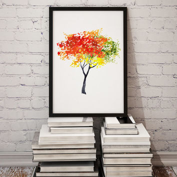 Tree poster Minimal home decor Watercolor art print Autumn painting   TO47