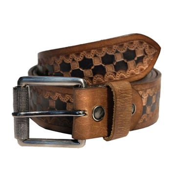 Hand Tooling Mens Designer Leather Belt