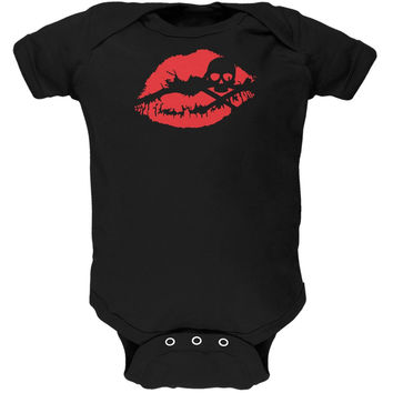 Halloween Kiss of Death Black Soft Baby One Piece