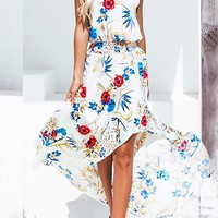 A| Chicloth Halter Midi Dress Date Holiday Floral Dress