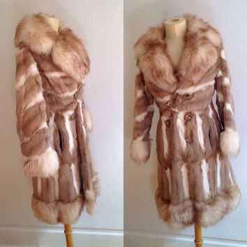 Vintage 70s Boho Hippie Genuine Fur Coat Contrast Chevron Stripe ~Cream Beige Fur ~ Giant Lush Fox Collar Trim ~ Warm Winter Stroller Jacket
